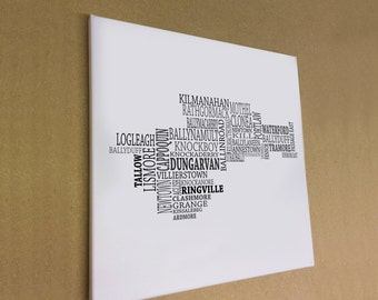 """Co. Waterford - Typographical Map Canvas Print 16"""" x 16"""""""