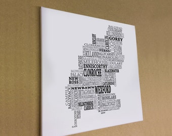 """Co. Wexford - Typographical Map Canvas Print 16"""" x 16"""""""