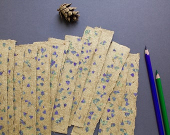 Paper bookmarks with flower petals, unique bookmarks, homemade paper, library fan (#19)