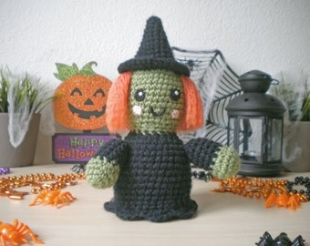 Crochet Witch Stuffed Toy, Halloween Decoration