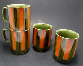 Stackable Ceramic Mugs, Vintage Green Coffee Cups, Orange Green Striped Mugs, Mid Century Modern Cups