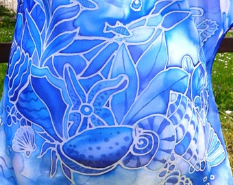Hand Painted Silk Shawl, Hand made Scarf, Good Gift idea for Women,