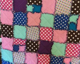 Polka dot rag quilt/polkadot blanket/multicolor dot quilt/quilt for teenage girl