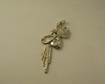 Art Nouveau Fairy Lady Sterling Pendant