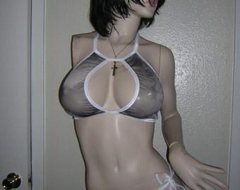Sheer Mesh Tie Dye Keyhole Bikini  Set  Exotic Dancewear See through Mega 2pc Swimsuit Swimwear