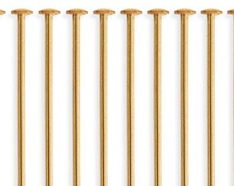 10 Pcs 2 Inch 26ga 14K Gold Filled Head Pins (GF26G20H10)