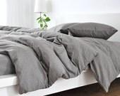 Medium Grey linen duvet cover, linen duvet cover, grey linen duvet cover, queen duvet cover, king duvet cover, linen bedding