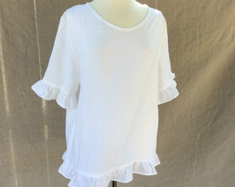 White Linen Top for women, linen blouse, plus size clothing