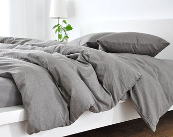 Medium Grey linen duvet cover, linen duvet cover, grey linen duvet cover, queen duvet cover, king duvet cover, linen bedding