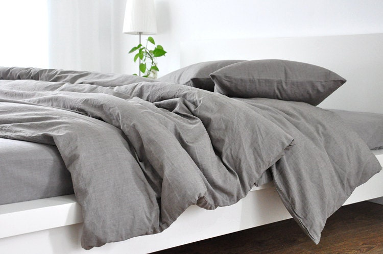 Medium Grey linen duvet cover, linen duvet cover, grey linen duvet cover,  queen duvet cover, king duvet cover, linen