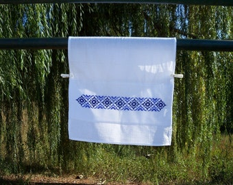 """Hand Embroidered. Ready to ship. Handmade.Kitchen towel """"Blue sky""""."""