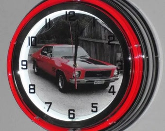 """GTS Double Neon Lighted 19"""" Retro Wall Clock for Holden HQ Coupe, Monaro enthusiast, Man cave, Fathers Day"""