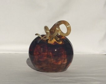 Cherry Red and Gold Hand Blown Glass Pumpkin (AW BP306)