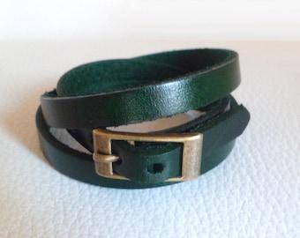 Wrap bracelet - Green genuine leather wrap watch - triple wrist wrap leather for watch
