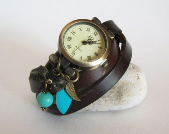 Leather bracelet watch with turquoise beads