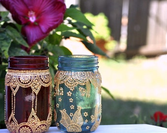 SET OF 2 Mason Jars BOHO Lanterns Decorated With Henna Design Detailing