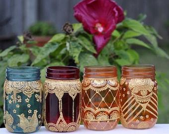 SET of 8 TINTED MASON Bohemian Moroccan Jars Lanterns Candleholders Decor Designed With Henna Detailing