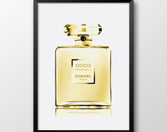 Chanel perfume gold, Coco Chanel print, Fashion print, Coco Chanel decor, Modern art, Instant download - 260