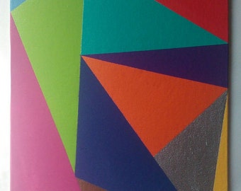 Modern colourful triangle painting