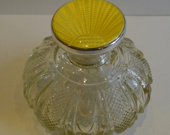 Sterling Silver and Yellow Guilloche Enamel Perfume Bottle - 1930