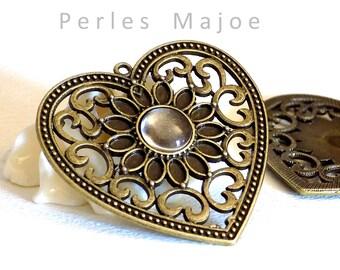 support pendentif forme de coeur couleur bronze + cabochon en verre de 10 mm