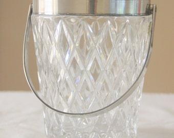 Vintage Crystal Ice Bucket, Wine Cooler, Germany, 'Echt Bleikristall Gepresst', Silver Plate Rim and Handle