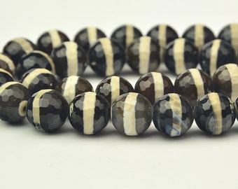 """15""""   Black Tibetan Agate beads faceted 10mm"""