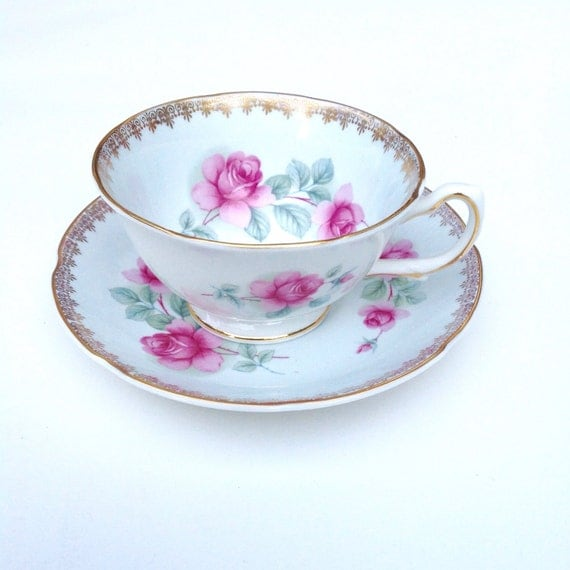 Antique Tea Cup and Saucer Royal Grafton Blue Vintage Teacup and Saucer Pink Roses