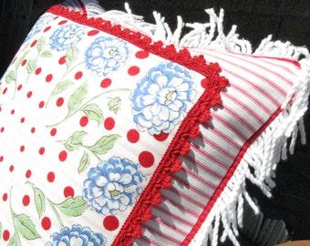 Handmade Pillow~OOAK Pillow~Fringed Hankie Pillow~Vintage Hankie Turned Pillow~~Polka Dot Pillow