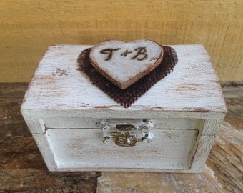 Wedding Ring Box. Rustic Wedding Ring Bearer Box. Ring Bearer Pillow. Keepsake Box. White Wedding Box.