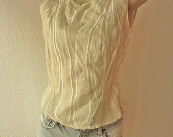 Vintage Off White Jil Sander Sleeveless Shell Top Blouse Unworn