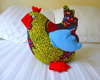 Stuffed Chicken colorful African fabric wax, felt and cotton