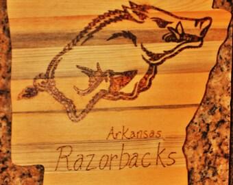 Arkansas Shaped Arkansas Razorback Cutting Board