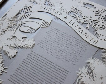 Customized papercut ketubah / wedding vows (framed): evergreen boughs