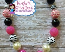 Necklaces,Chunky Bubblegum Beads Necklace,Zebra Necklace,Pink and Black Zebra Chunky Bubblegum Beads Necklace, Pink and Black Zebra Necklace