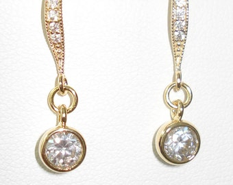 Cubic Zirconia Earrings 6mm Gold Plated