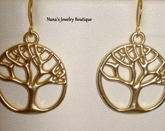 Tree Of Life Dangle Earrings Matt Gold Plated