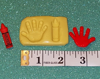 silicone mold- Back to school, Kids Hand, Crayon , - gumpaste, fondant cake decorating, candy chocolate polymer clay