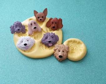 Silicone mold, puppy, dog, face, multi, gumpaste, fondant cake decorating, chocolate, polymer clay