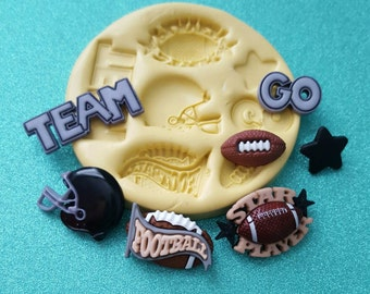 Football Sports Silicone Mold, gumpaste fondant cake decorating, chocolate, candy, polymer clay