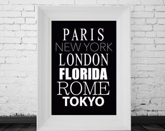 Custom City Print, Travel Art, Black and White, Typography, Modern Art, Digital Print, Instant Download
