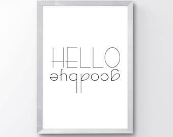Black and White Minimal Wall Art - Hello Goodbye Print - Modern Minimal Print - Minimal Home Decor - Hello Wall Art Print - Goodbye Wall Art