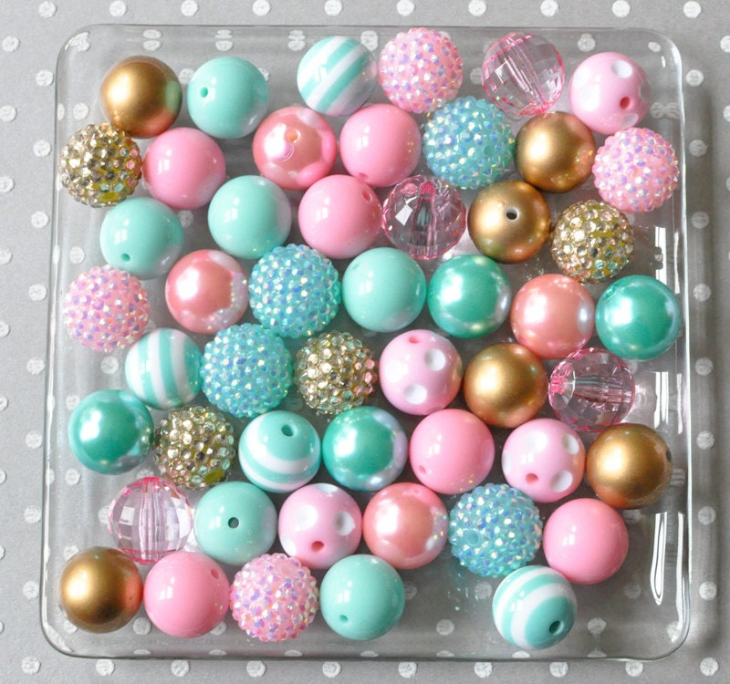 20mm Bead Beads: Pink Aqua And Gold 20mm Bubblegum Beads Wholesale Bulk Beads
