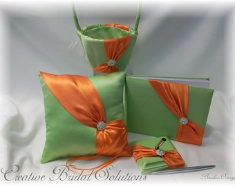 Green and Orange Diagonal Wedding 4pc set- Ring Pillow, Flower Girl Basket, Guest Book and Guest Pen