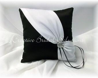 Black and Ivory Wedding Ring Bearer Pillow- Diagonal