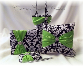 Black and White Damask with Apple Green Wedding Ring Pillow, Flower Girl Basket, Guest Book and Guest Pen, Apple Green Pillow, Flower Basket