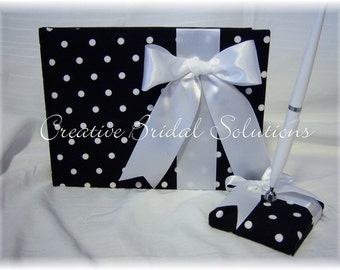 Black and White Polka Dot Wedding Guest Book and Pen Set