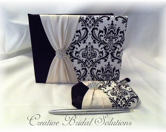 Black and White Madison Damask with Champagne Wedding Guest Book & Pen Set