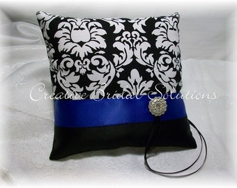 Black and White Damask with Royal Blue Wedding Ring Bearer Pillow