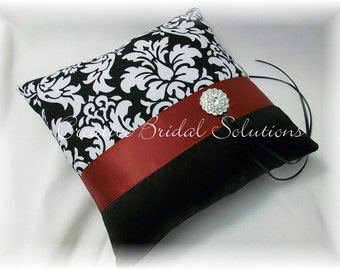 Black and White Damask with Dark Red Wedding Ring Bearer Pillow